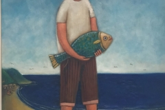 Niño con pescado, 2017 Oil on canvas 22.5x16 Inch