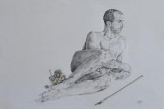 Hombre con artco, 2015 dibujo lapiz sobre papel 70x50 cms