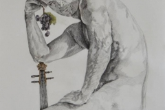 Hombre con viola, 2015 dibujo lapiz sobre papel 70x55 cms
